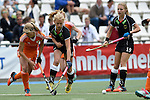 GER - Mannheim, Germany, May 25: During the U16 Girls match between The Netherlands (orange) and Germany (black) during the international witsun tournament on May 25, 2015 at Mannheimer HC in Mannheim, Germany. Final score 1-1 (1-0). (Photo by Dirk Markgraf / www.265-images.com) *** Local caption *** Hanna Bergkamp #15 of The Netherlands, Emely Vysoudil #10 of Germany, Camille Nobis #19 of Germany