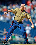 24 September 2012: Sergeant Major Michael P. Barrett of the U.S. Marine Corps throws out the ceremonial first pitch prior to a game between the Milwaukee Brewers and the Washington Nationals at Nationals Park in Washington, DC. The Nationals defeated the Brewers 12-2 in the final game of their 4-game series, splitting the series at two. Mandatory Credit: Ed Wolfstein Photo