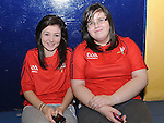 Amy Kinsella and Sophie Brady pictured at the new handball courts at O'Raghalligh's. Photo: Colin Bell/pressphotos.ie