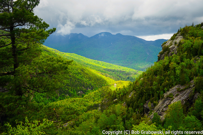 The Great Range From Giant Mt in spring in the Adirondack Forest Preserve in  New York State