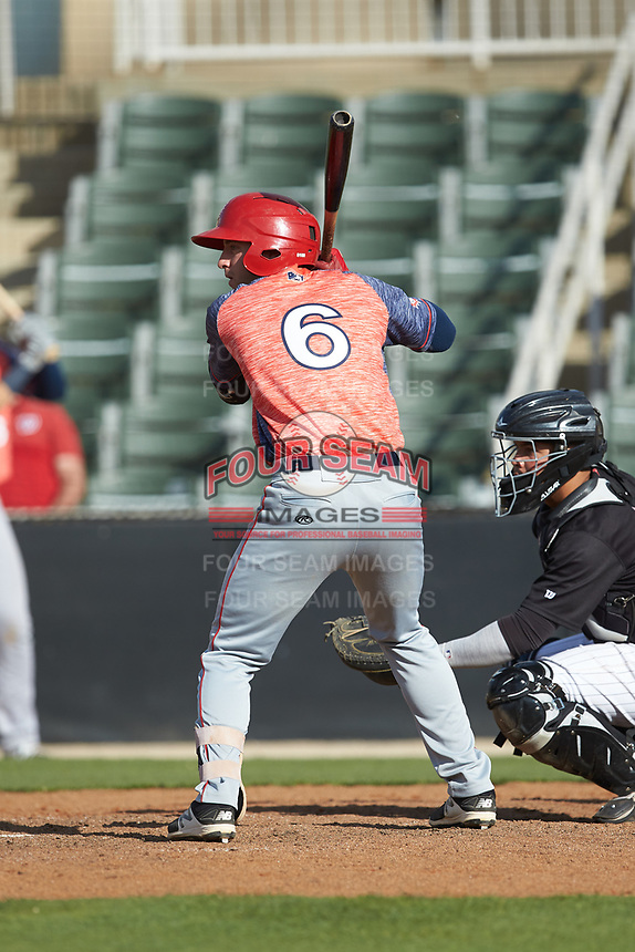Branden Boggetto (6) of the Hagerstown Suns at bat against the Kannapolis Intimidators at Kannapolis Intimidators Stadium on May 6, 2018 in Kannapolis, North Carolina. The Intimidators defeated the Suns 4-3. (Brian Westerholt/Four Seam Images)
