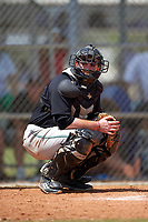 Plymouth State Panthers catcher Chris Mansour (32) during the second game of a doubleheader against the Edgewood Eagles on March 17, 2016 at Lee County Player Development Complex in Fort Myers, Florida.  Plymouth State defeated Edgewood 16-3.  (Mike Janes/Four Seam Images)
