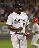 Houston Astros pitcher Jose Valverde celebrates after beating the Phillies on Friday May 23rd at Minute Maid Park in Houston, Texas. Photo by Andrew Woolley / Four Seam Images..