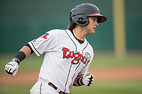 Lansing Lugnuts shortstop Bo Bichette (10) jogs around the bases after hitting a home run during the Midwest League baseball game against the Bowling Green Hot Rods on June 29, 2017 at Cooley Law School Stadium in Lansing, Michigan. Bowling Green defeated Lansing 11-9 in 10 innings. (Andrew Woolley/Four Seam Images)
