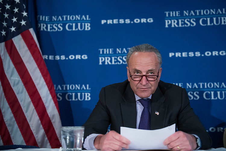 UNITED STATES - FEBRUARY 27: Senate Minority Leader Charles Schumer, D-N.Y., and House Minority Leader Nancy Pelosi, D-Calif., not pictured, deliver a prebuttal at the National Press Club to tomorrow's address to a joint session of Congress by President Donald Trump, February 27, 2017. (Photo By Tom Williams/CQ Roll Call)