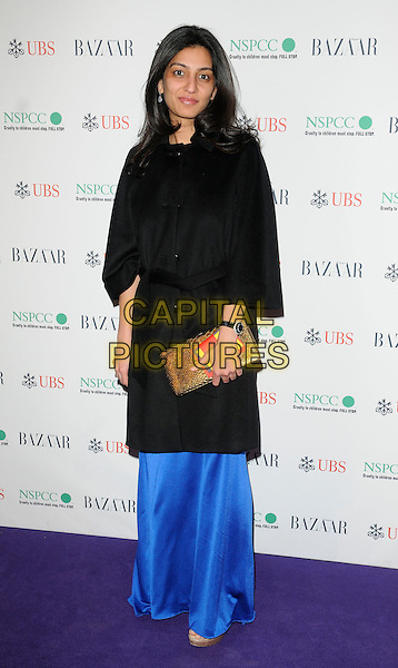 MEGHA MITTAL.The Surrealist Ball in aid of NSPCC at The Banqueting House, London, England..March 17th, 2011.full length blue dress black jacket clutch bag gold.CAP/CAN.©Can Nguyen/Capital Pictures.