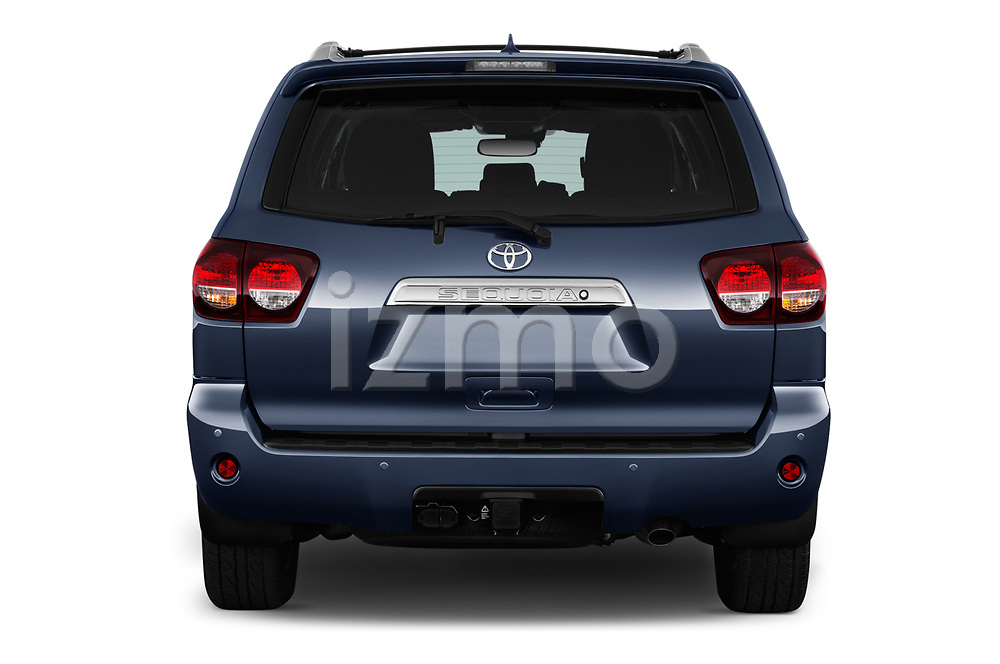 Straight rear view of a 2018 Toyota Sequoia Limited Auto 5 Door SUV stock images