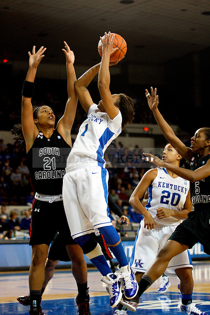 A'dia Mathius makes a shot in the first half of the UK women's basketball team's game against the South Carolina Gamecocks at Memorial Colisiuem  on Jan. 13, 2011. Photo by Britney McIntosh | Staff