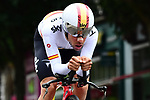 Spanish National Champion Jonathan Castroviejo (ESP) Team Sky in action during the opening Prologue of the 2018 Criterium du Dauphine running 6.6km around Valence, France. 3rd June 2018.<br /> Picture: ASO/Alex Broadway | Cyclefile<br /> <br /> <br /> All photos usage must carry mandatory copyright credit (&copy; Cyclefile | ASO/Alex Broadway)