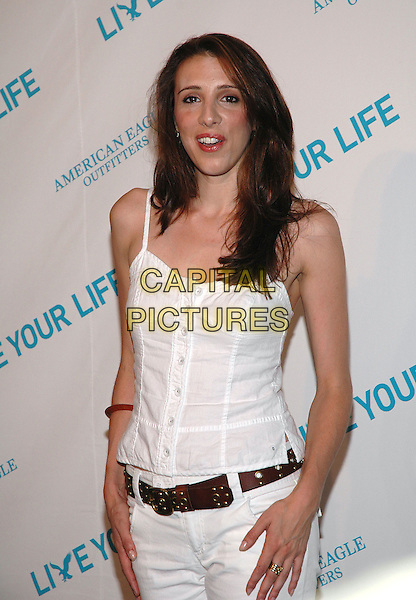 "ALEXANDRA KERRY.American Eagle Outfitters' ""Live Your Life Contest"" winners at the Union Square flagship store in Manhattan, New York, New York..July 27th, 2005  .Photo Credit: Patti Ouderkirk/AdMedia.half length white tank top brown belt.www.capitalpictures.com.sales@capitalpictures.com.© Capital Pictures."