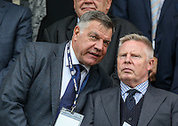 England National Team Manager Sam Allardyce has a word with England Assistant Coach Sammy Lee during the International EURO U21 QUALIFYING - GROUP 9 match between England U21 and Norway U21 at the Weston Homes Community Stadium, Colchester, England on 6 September 2016. Photo by Andy Rowland / PRiME Media Images.