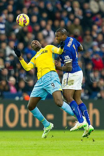 07.02.2015.  Leicester, England. Barclays Premier League. Leicester City versus Crystal Palace. Yaya Sanogo (Crystal Palace) and Wes Morgan of Leicester City compete for an aerial ball.