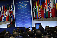 United States President Donald J. Trump delivers remarks to Ministers of the Global Coalition to Defeat ISIS at the State Department February 6, 2019 in Washington, DC. The coalitions members gathered in Washington to discuss strategy to combat ISIS. Photo Credit: Alex Wong/CNP/AdMedia