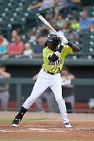 Shortstop Ronny Mauricio (2) of the Columbia Fireflies bats in a game against the Augusta GreenJackets on Thursday, July 11, 2019 at Segra Park in Columbia, South Carolina. Columbia won, 5-2. (Tom Priddy/Four Seam Images)