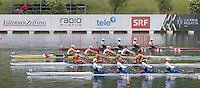 Lucerne, SWITZERLAND<br /> <br /> Men's Quadruple Sculls Repechage,  Top to Bottom CAN M4X, USA M4X, CHN M4X and ITA M4X. 2016 European Olympic Qualifying Regatta, Lake Rotsee.<br /> <br /> Monday  23/05/2016<br /> <br /> [Mandatory Credit; Peter SPURRIER/Intersport-images]
