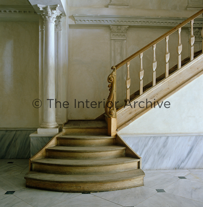 The graceful wooden staircase was designed by Carl Vercauteren and built by local Turkish craftsmen