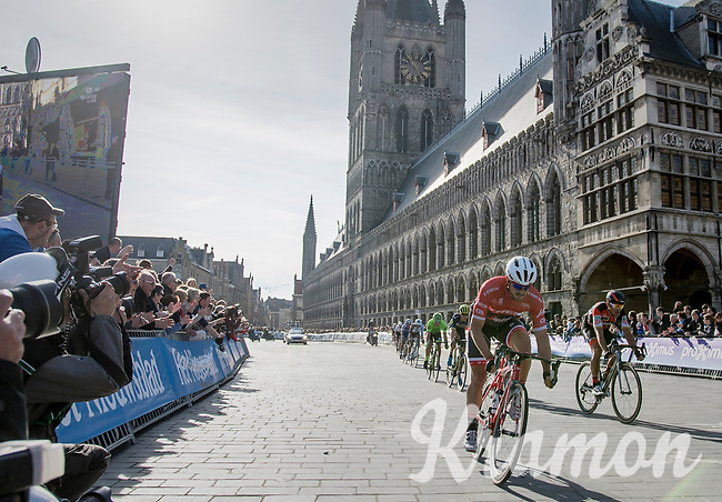 John Degenkolb (DEU/Trek-Segafredo) leading the race in the town center of Ieper<br /> <br /> 79th Gent-Wevelgem 2017 (1.UWT)<br /> 1day race: Deinze &rsaquo; Wevelgem - BEL (249km)