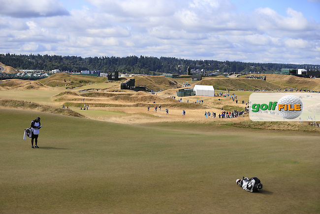 The 5th green during Friday's Round 2 of the 2015 U.S. Open 115th National Championship held at Chambers Bay, Seattle, Washington, USA. 6/19/2015.<br /> Picture: Golffile | Eoin Clarke<br /> <br /> <br /> <br /> <br /> All photo usage must carry mandatory copyright credit (&copy; Golffile | Eoin Clarke)