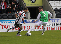 Dougie Imrie cuts inside Matthew Doherty in the St Mirren v Hibernian Clydesdale Bank Scottish Premier League match played at St Mirren Park, Paisley on 29.4.12.