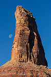 Bottleneck Peak with a setting moon on the San Rafael Swell in south central Utah.