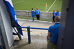 Queen of the South 2 Stranraer 0, 11/08/2015. Scottish Challenge Cup first round, Palmerston Park. Boys at the perimeter wall of the home end watching the first-half action at Palmerston Park, Dumfries, as Queen of the South (in blue) host Stranraer in a Scottish Challenge Cup first round match. The game was the opening match of the season in a competition open to sides below the Scottish Premiership. Queen of the South won the match 2-0, watched by a crowd of 1229 spectators. Photo by Colin McPherson.