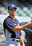 8 March 2011: New York Yankees' Manager Joe Girardi watches batting practice prior to a Spring Training game against the Atlanta Braves at Champion Park in Orlando, Florida. The Yankees edged out the Braves 5-4 in Grapefruit League action. Mandatory Credit: Ed Wolfstein Photo