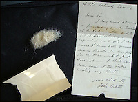 BNPS.co.uk (01202 558833)<br /> Pic: Mullocks/BNPS<br /> <br /> ***Please use full byline***<br /> <br /> The hairlock, wallpaper and handwritten note.<br /> <br /> A collection of memorabilia relating to the Duke of Wellington has emerged for sale.<br /> <br /> An autopsy showed Napoleon died from stomach cancer, but others believe he was poisoned by arsenic from his wallpaper. This is estimated to sell for up to &pound;4,000.<br /> <br /> Other memorabilia in the sale includes some of the Duke of Wellington's hair. A note states the hair was cut off and presented in March 1843. The hair is expected to sell for up to &pound;700.<br /> <br /> There is also Wellington's invitation to the launch of the SS Great Britain, which includes his reply stating he is unable to leave London. It has an estimate of up to &pound;4,000.