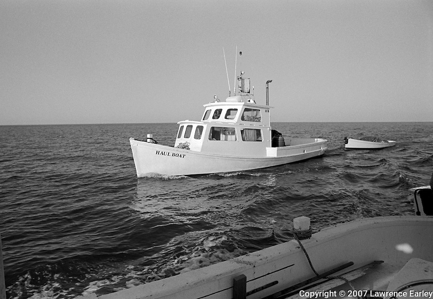 Core Sound workboats are so versatile they can be used in different fisheries.  Ambrose Fulcher of Atlantic built the Haul Boat as a runboat in 1936 for the Clayton Fulcher fish house. She was originally named the Marion A. for Fulcher's wife Marion Agnes.  She is one of Sea Level fisherman Danny Mason's boats that he uses in his long-haul fishing operation.