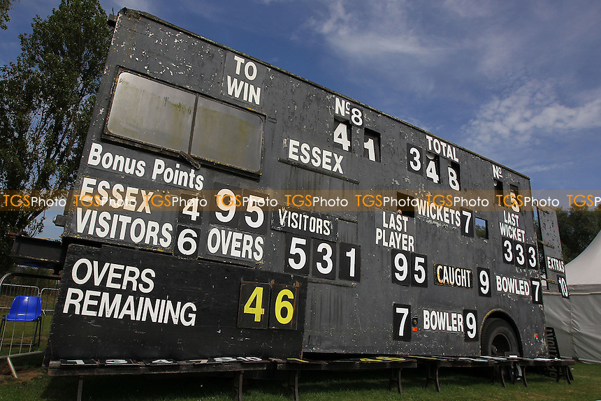 A view of the mobile scoreboard in use at Castle Park - Essex CCC vs Northamptonshire CCC - LV County Championship Division Two Cricket at Castle Park, Colchester Cricket Club - 23/08/13 - MANDATORY CREDIT: Gavin Ellis/TGSPHOTO - Self billing applies where appropriate - 0845 094 6026 - contact@tgsphoto.co.uk - NO UNPAID USE