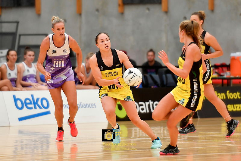 Pulse&rsquo; Whitney Souness in action during the Netball Pre Season Tournament - Pulse v Stars at Ngā Purapura, Otaki, New Zealand on Saturday 9 February  2019. <br />