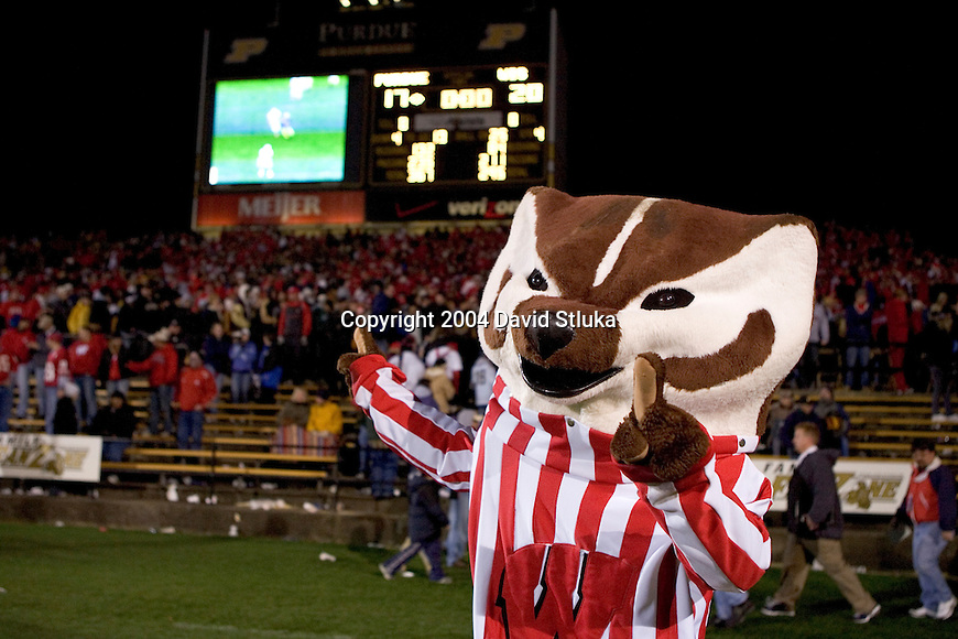 WEST LAFAYETTE, IN - OCTOBER 16: Bucky Badger of the Wisconsin Badgers celebrates after the game against the Purdue Boilermakers at Ross-Ade Stadium in West Lafayette, Indiana on October 16, 2004. Wisconsin beat Purdue 20-17. (Photo by David Stluka)