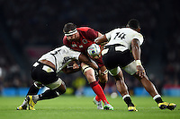 Tom Wood of England takes on the Fiji defence. Rugby World Cup Pool A match between England and Fiji on September 18, 2015 at Twickenham Stadium in London, England. Photo by: Patrick Khachfe / Onside Images