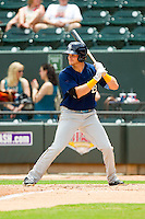 Preston Beck (11) of the Myrtle Beach Pelicans at bat against the Winston-Salem Dash at BB&T Ballpark on July 7, 2013 in Winston-Salem, North Carolina.  The Pelicans defeated the Dash 4-2 in game one of a double-header.  (Brian Westerholt/Four Seam Images)