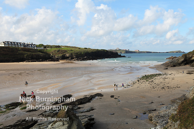 PORTH BEACH, NEWQUAY, CORNWALL, UK - OCTOBER 3, 2016: Early morning views near Porth Beach in Newquay.