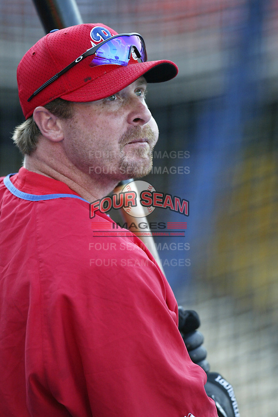 Jeremy Giambi of the Philadelphia Phillies before a 2002 MLB season game against the Los Angeles Dodgers at Dodger Stadium, in Los Angeles, California. (Larry Goren/Four Seam Images)