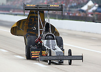 Apr 26, 2014; Baytown, TX, USA; NHRA top fuel driver Troy Buff during qualifying for the Spring Nationals at Royal Purple Raceway. Mandatory Credit: Mark J. Rebilas-