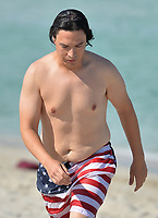 www.acepixs.com<br /> <br /> May 14 2017, Miami<br /> <br /> Actor Jon Bass wears 'Stars and Stripes' swimming shorts on the beach on May 14 2017 in Miami, FL.<br /> <br /> By Line: Solar/ACE Pictures<br /> <br /> ACE Pictures Inc<br /> Tel: 6467670430<br /> Email: info@acepixs.com<br /> www.acepixs.com