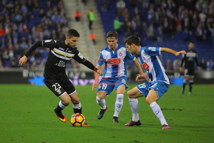 League Santander 2016/2017. Game: 13.<br /> RCD Espanyol vs CD Leganes: 3-0.<br /> Omar, Pablo Piatti &amp; Aaron Martin.