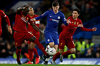 3rd March 2020; Stamford Bridge, London, England; English FA Cup Football, Chelsea versus Liverpool; Mason Mount of Chelsea is challenged by Takumi Minamino and Sadio Mane of Liverpool