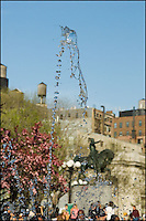 A high speed shot of a water fountain in Union Square, NYC