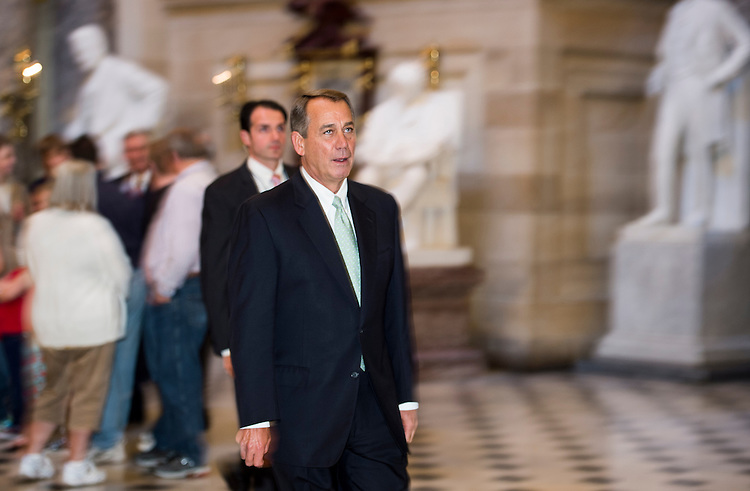 UNITED STATES - OCTOBER 11: Speaker of the House John Boehner, R-Ohio, walks back to his office through Statuary Hall in the Capitol on Friday, Oct. 11, 2013. (Photo By Bill Clark/CQ Roll Call)