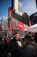 Former men's national team player Tab Ramos is interviewed during the centennial celebration of U. S. Soccer at Times Square in New York, NY, on April 04, 2013.