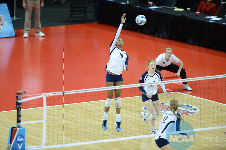 13 DEC 2012: The University of Oregon takes on Penn State during the semifinal games of the Division I Woman's Volleyball Championship held at the KFC Yum Center in Louisville, KY. Stephen Nowland/Rich Clarkson and Associates, LLC