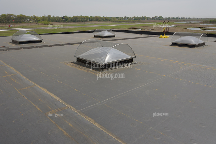 Roof Replacement and Mechanical Upgrades Stratford School For Aviation Maintenance Technicians.  Project No: BI-RT-860<br /> Contractor: Silktown Roofing, Manchester CT.<br /> James R Anderson Photography   New Haven CT   photog.com<br /> Date of Photograph: 15 May 2014<br /> Camera View: Southwest, Roof C  Image No. 18