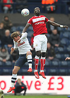 Preston North End's Ryan Ledson jumps with Bristol City's Famara Diedhiou<br /> <br /> Photographer Mick Walker/CameraSport<br /> <br /> The EFL Sky Bet Championship - Preston North End v Bristol City - Saturday 2nd March 2019 - Deepdale Stadium - Preston<br /> <br /> World Copyright © 2019 CameraSport. All rights reserved. 43 Linden Ave. Countesthorpe. Leicester. England. LE8 5PG - Tel: +44 (0) 116 277 4147 - admin@camerasport.com - www.camerasport.com