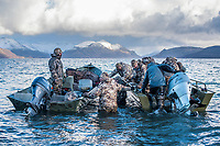 Hunters prepare boats to head back to shore after a day of hunting in Cold Bay, Alaska, Friday, November 4, 2016. The Izembek National Wildlife Refuge lies on the northwest coastal side of central Aleutians East Borough along the Bering Sea and Cold Bay. Birds hunted include the long tailed duck, the Steller's Eider, the Harlequin, the King Eider and Brant.<br /> <br /> <br /> Photo by Matt Nager
