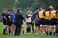 Freddie Burns of Bath Rugby speaks to his team-mates in a huddle. Bath Rugby pre-season training session on August 9, 2017 at Farleigh House in Bath, England. Photo by: Patrick Khachfe / Onside Images