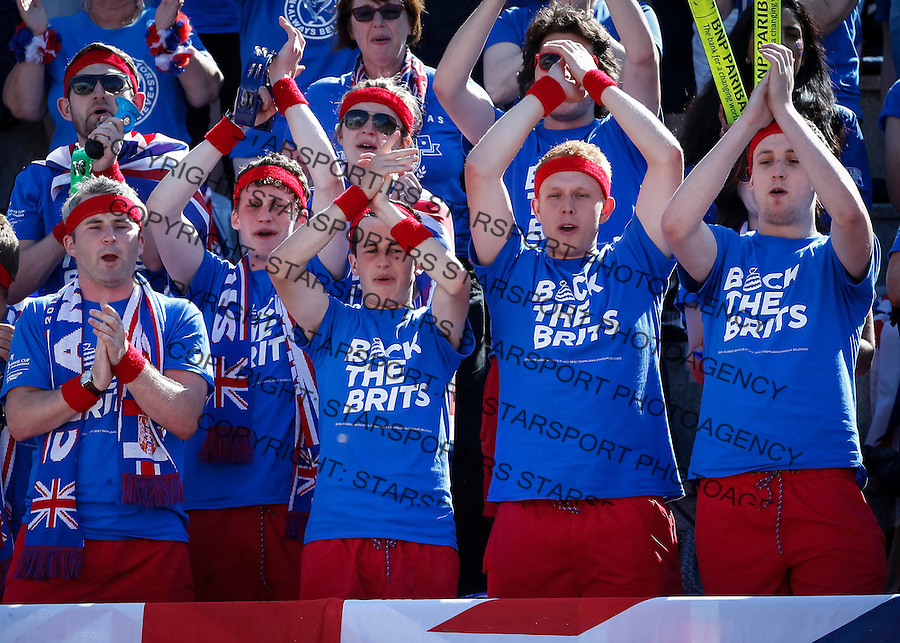 BELGRADE, SERBIA - JULY 16: Great Britain fans cheer their team during day two of the Davis Cup Quarter Final match between Serbia and Great Britain on Stadium Tasmajdan on July 16, 2016 in Belgrade, Serbia. (Photo by Srdjan Stevanovic/Getty Images)