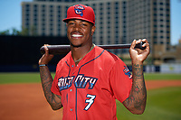 Jacksonville Jumbo Shrimp Monte Harrison (3) poses for a photo before a game against the Biloxi Shuckers on May 6, 2018 at MGM Park in Biloxi, Mississippi.  Biloxi defeated Jacksonville 6-5.  (Mike Janes/Four Seam Images)