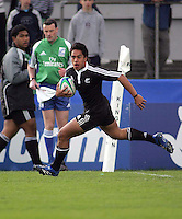 New Zealand full back Trent Renata scores his second try in their Division A semi final at Ravenhill. Result New Zealand 36 Wales 12.